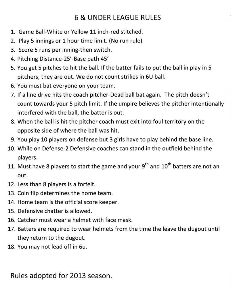6 & Under Rules