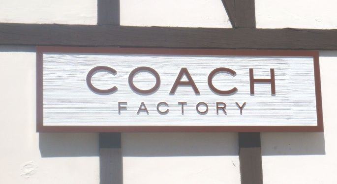"""SA28718 - """"Coach Factory"""" Carved and Sandblasted  Wall Sign"""