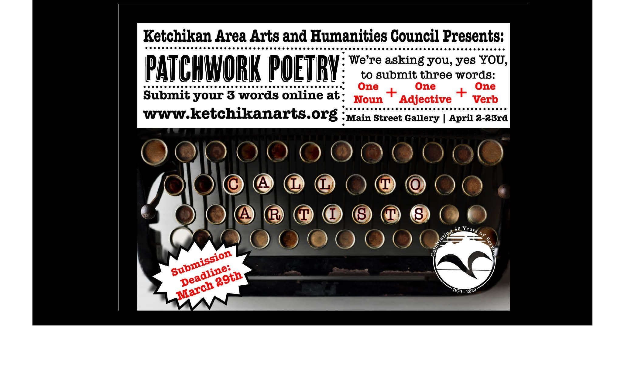 Patchwork Poetry an open call exhibit celebrating National Poetry Month