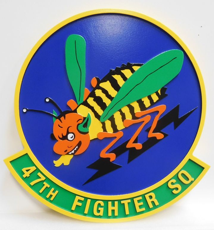 LP-2685 - Carved Round Plaque of the 47th Fighter Squadron, Artist-Painted with Flying Stinging Bee