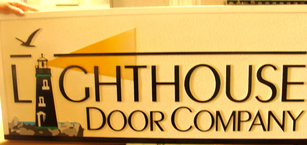 """SA28762 - Carved Sign for """"Lighthouse Door Company""""  with Lighthouse and Seagull as Artwork"""
