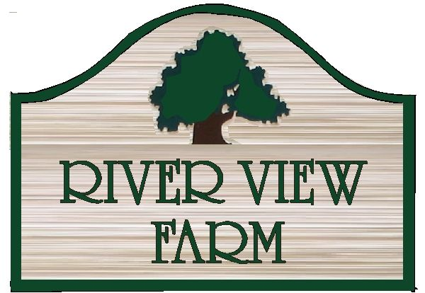 O24880 - Design of Wood Grain HDU or Wood Sign for River View Farm with Carved Tree