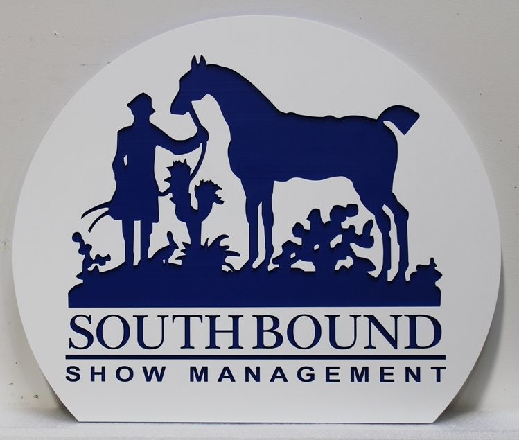 P25158 - Engraved HDU Entrance sign for Southbound Show Management with Silhouette of a Standing Horse Beside a Standing Rider