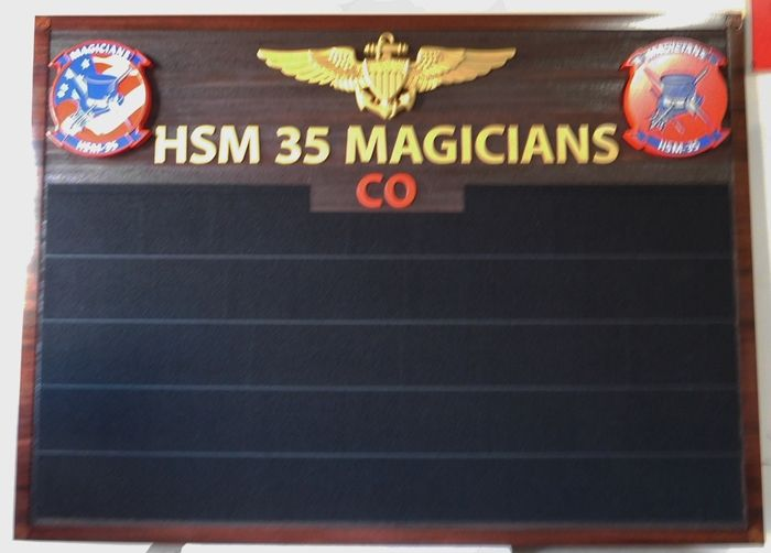 V31674 - Large Cedar Command Board with 3-D Carved Airman Badge and Crests, HMS 35 Magicians