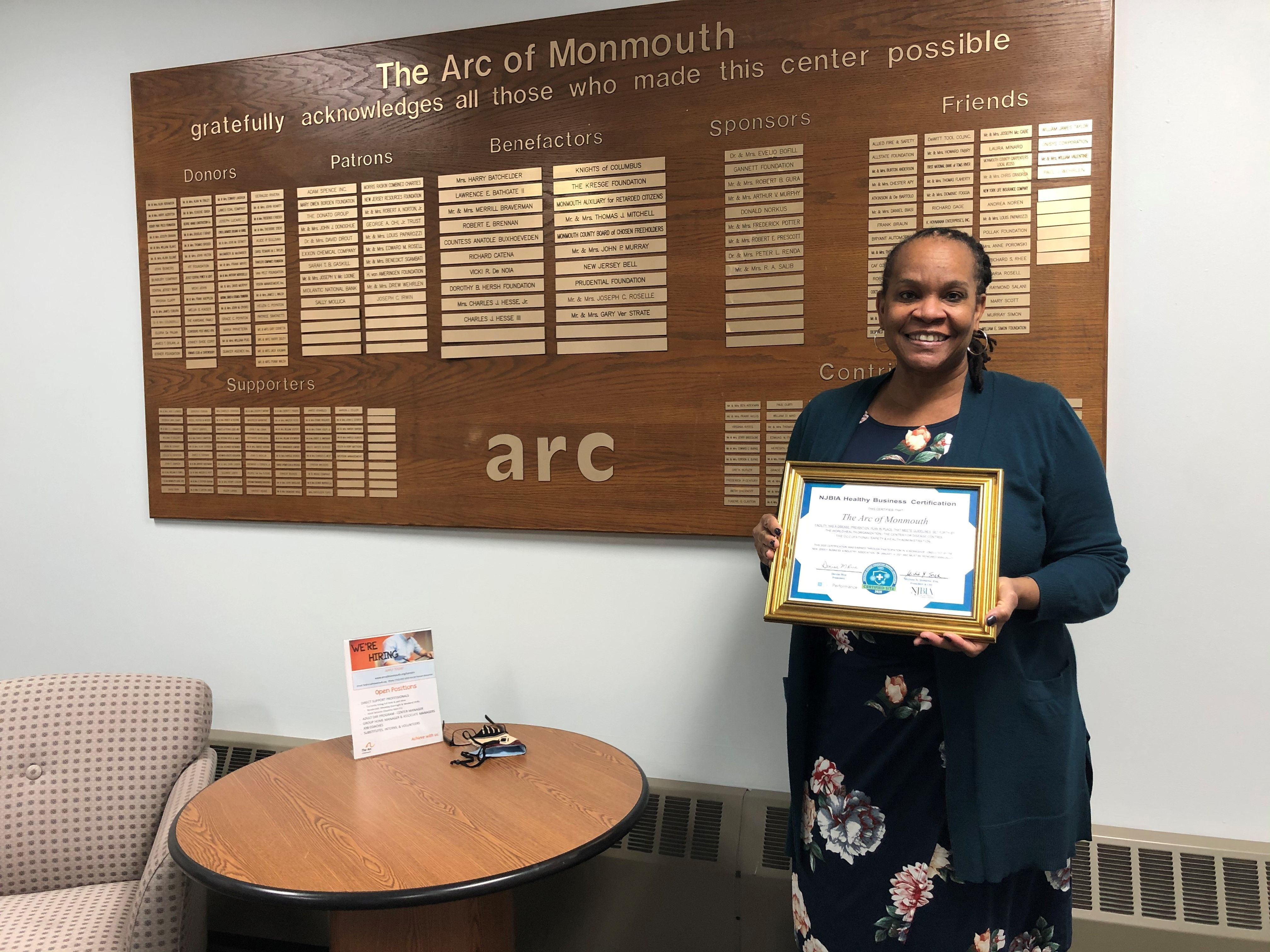 The Arc of Monmouth receives NJBIA's Healthy Business Certification