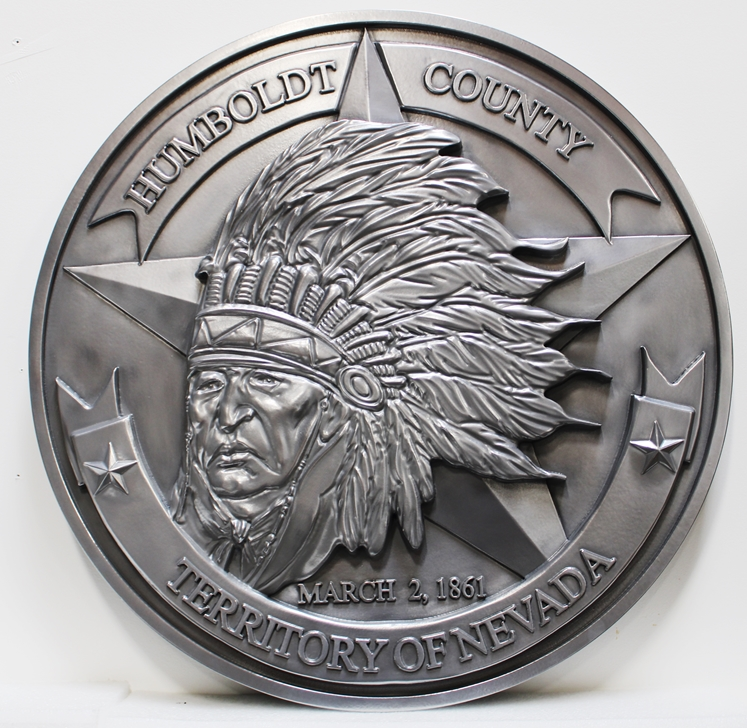 CP-1255 - Carved Plaque of the The Seal of the Humboldt County, Nevada, 3-D Aluminum-Plated