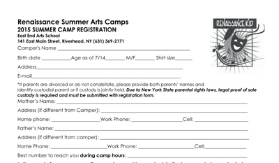 CLICK HERE to Download the Arts Camps Registration Form
