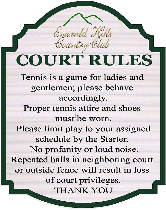 GB16858-  Carved HDU Tennis CourtRules Sign for the Emerald Hills Country Club