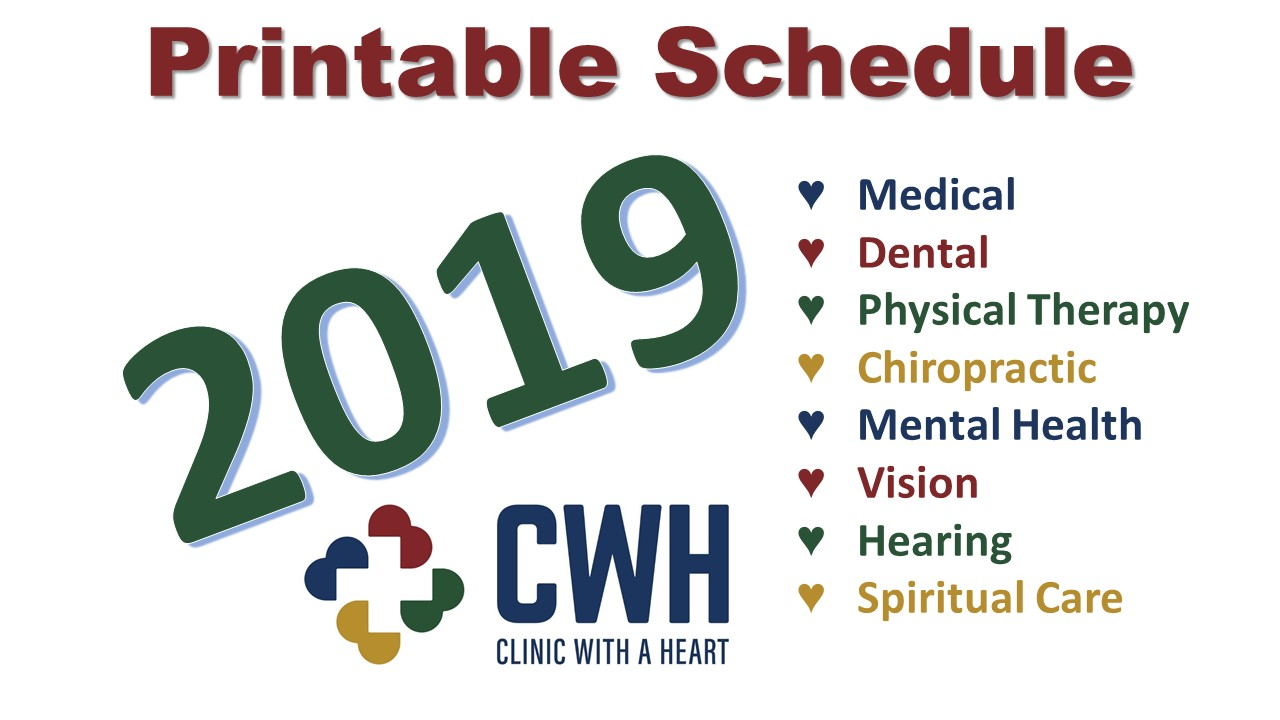 2019 Clinic with a Heart Schedule