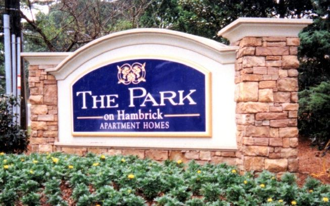 "K20063 -EPS Monument Sign for ""The Park"" Apartment Homes, Real Stone Sign Base and Pillars"