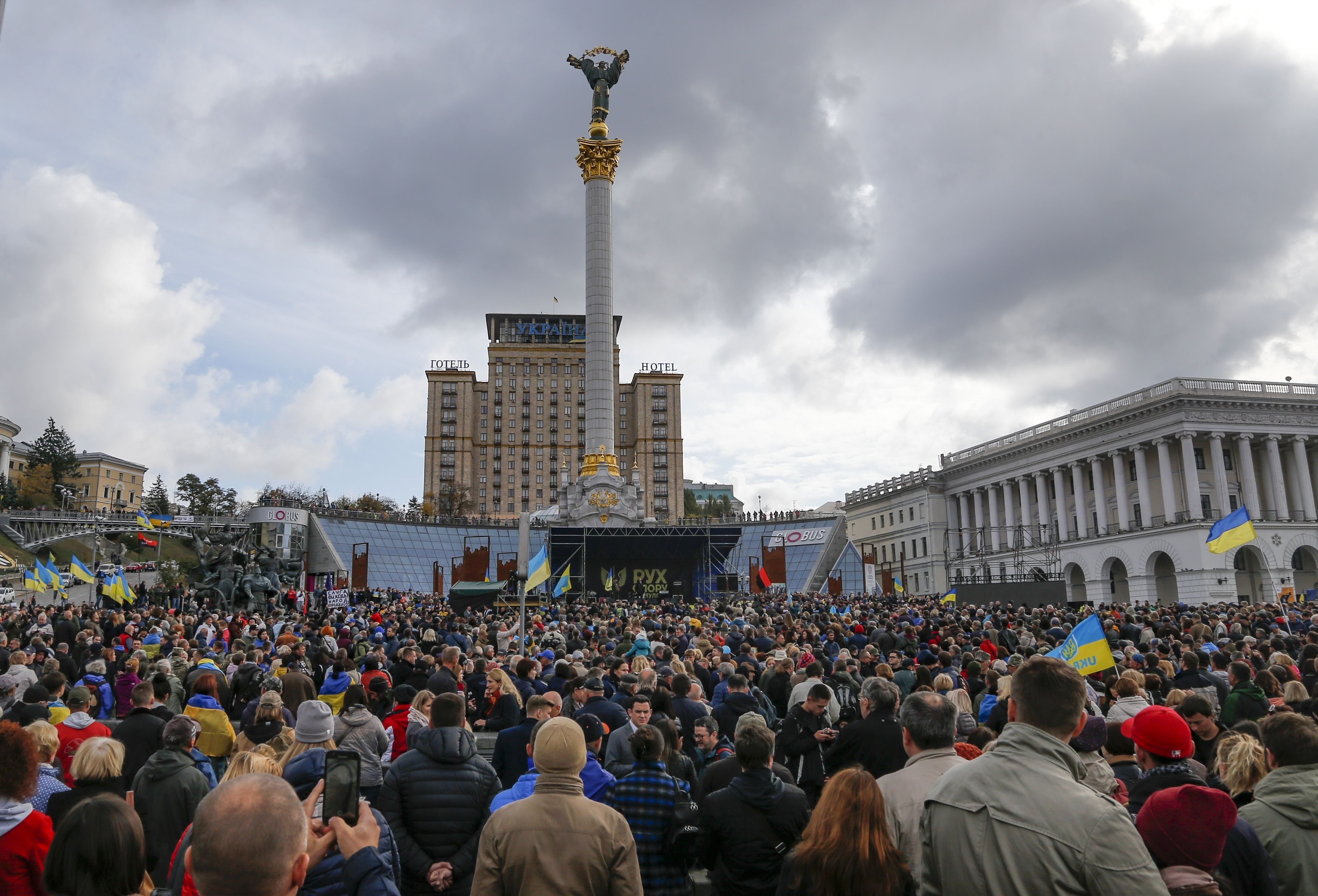 Protesters in Ukraine rally against election in rebel east