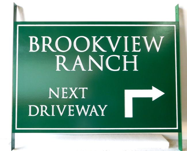 O24006 - Engraved HDU Directional  Sign for the  Brookview Ranch
