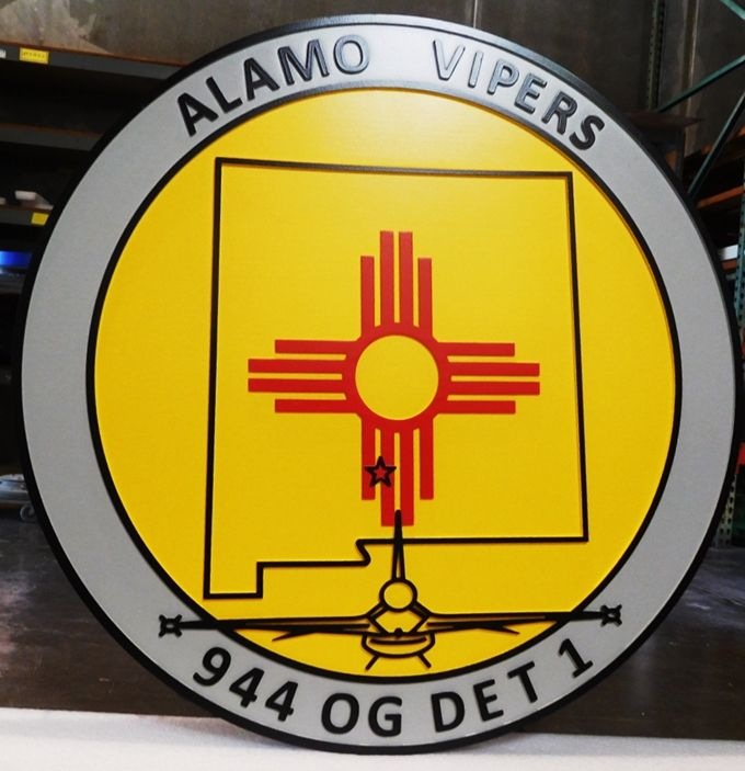 LP-2705 - Carved Plaque of the Crest of the 944 OG Det1, Alamo Vipers, Artist Painted