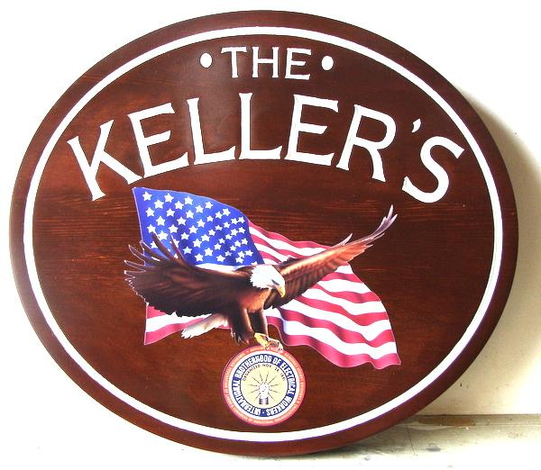 I18121 - Carved Cedar Wood Property Name Sign , with Full-Color US Flag Applique