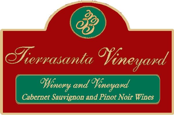 R27095 - Large Carved Wood Entrance Sign for Tieerasanta Vineyards