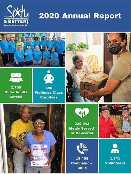 2020 Annual Report, 2705 Older Adults Served, 440 Wellness Class Enrollees, 229,043 Meals Served or Delivered, 19,408 Companion Calls, and 1,341 Volunteers.