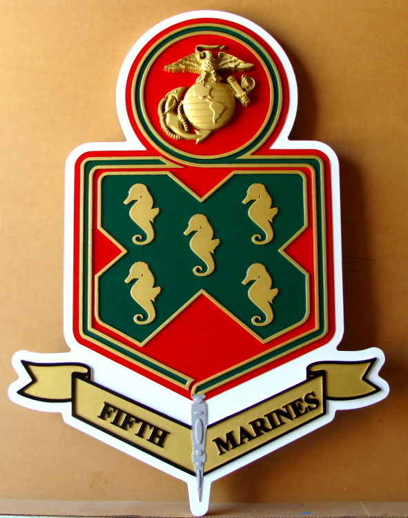 KP-2160 -  Carved Plaque of  the Insignia of the Fifth Marine Division, Artist Painted