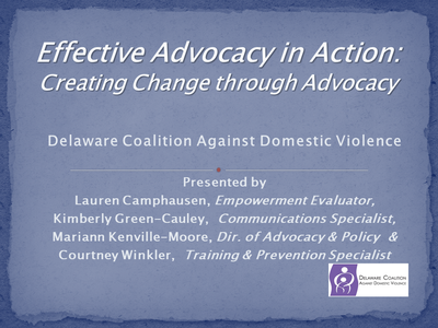 Effective Advocacy in Action: Creating Change through Advocacy