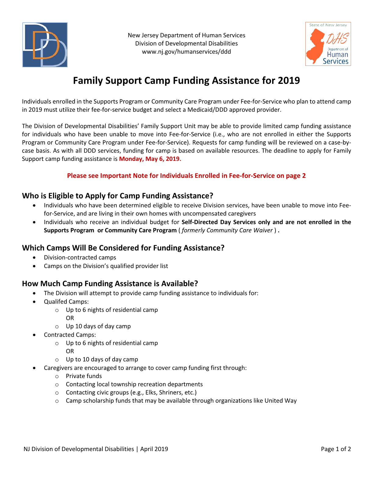 Family Support Camp Funding Assistance for 2019