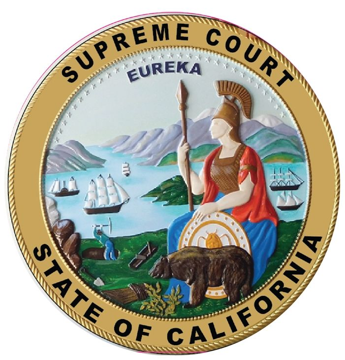 GP-1040 - Carved Plaque of the Seal of the Supreme Court , State of California, Artist Painted