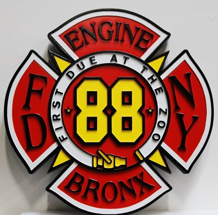 X33863 - Carved 2.5-D HDU Plaque of the Badge or Patch of Engine 88, of the Bronx New York City Fire Department