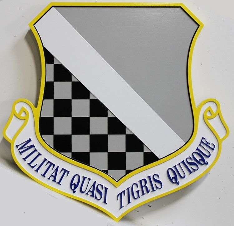 LP-2090 - Carved 2.5-D HDU Plaque of theShield Crest of the 140th Fighter Wing, US Air Force