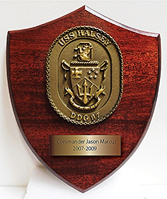 JP-1255 - Carved Wood  & Brass Ship Plaque for Personnel on the USS Halsey, 3-D