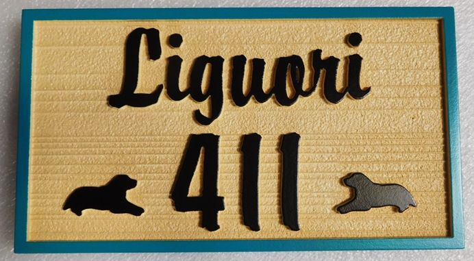 "I18619 - Residence Name Sign ""Liguori"" with Two Dogs in Silhouette as Artwork"