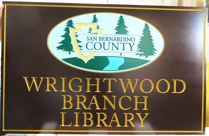 F15505 - Carved Entrance Sign for the Wrightwood Branch Library, San Bernardino County, California, with the County Seal as Artwork