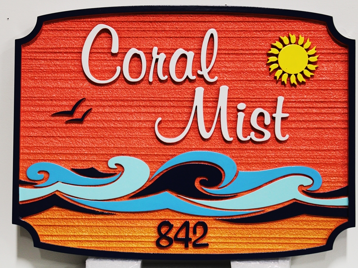 """L21182 -  - Sign for Condominium """"Ocean Sounds"""" ,with  Sun and Stylized Surf"""