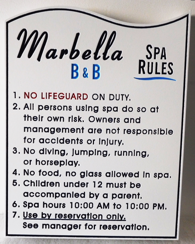 GB16270 - Engraved High-Density-Urethane (HDU)  Spa Rules Sign for the Marbella B&B