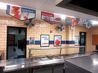 School café serving line with 4 food banners hanging above, school banners, signage company
