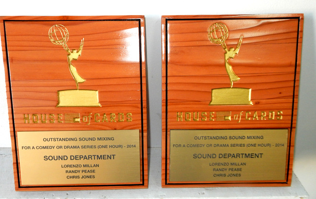 "SB28998 - Carved and Engraved  Redwood Plaques for Awards for Sound Mixing  for the ""House of Cards"" TV Show."