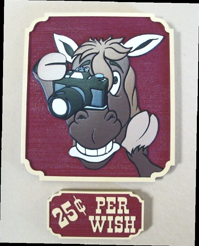 O24245 - Whimsical Sign Featuring a Horse with a Camera