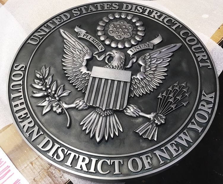 U30133 - Carved 3-D Silver-Nickel  Courtroom Wall Plaque of the Seal for the US District Court, Southern District of New York.