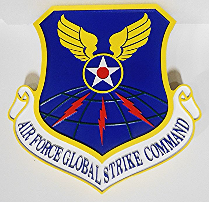 LP-1665- Carved  Plaque of the Shield Crest of the Air Force Global Strike Command, 2.5-D Artist Painted