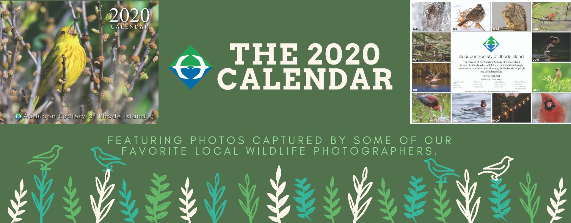 Audubon Society of Rhode island 2020 Calendar Bird Wildlife Photography Birdwatching