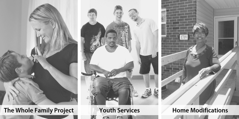 Photo collage representing The Whole Family Project, Youth Services and Home Modifications