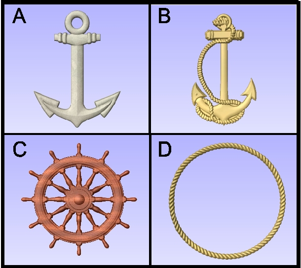 L21903 - Anchors, Ship Wheel and Rope Border