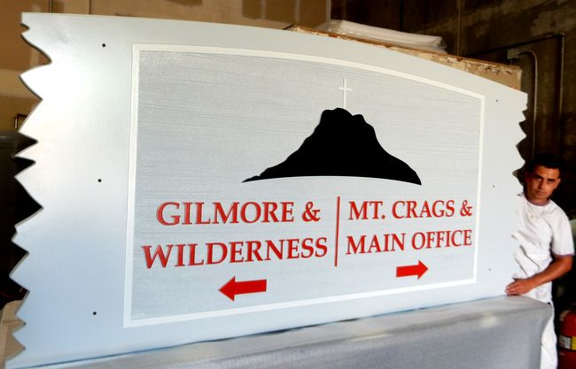 G16331 - Sign for The Salvation Army Camp and Conference Center  with Mountain and Cross