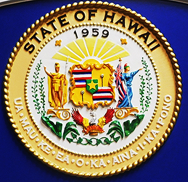 BP-1205 - Carved Plaque of the Seal of the State of Hawaii, Artist Painted