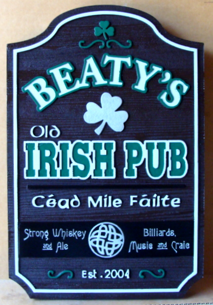 "RB27562 -  Engraved Redwood  ""Beatty's Old Irish Pub"" Entrance Sign, with Shamrock"