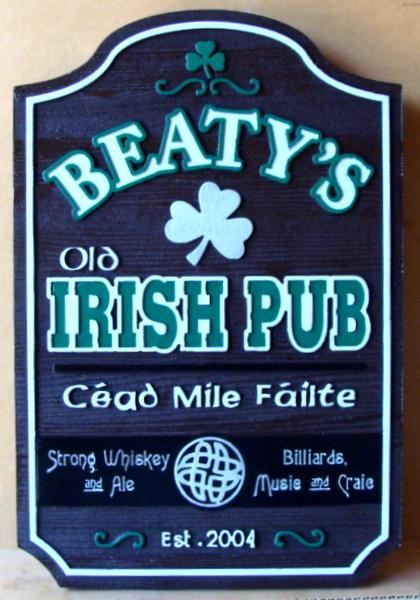 "RB27562 -  Engraved Redwood  ""Beatty's Old Irish Pub"" Entrance Sign, with Shamrock"
