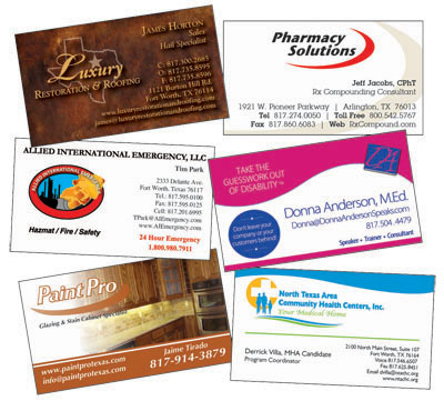 Business card printing flyer printing brochure printing in fort worth business cards reheart Images