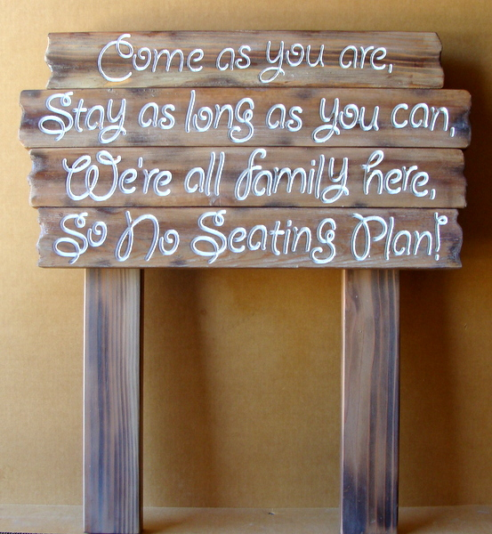 "M3808 - Carved Cedar Wood Hospitality Sign for Restaurant ""Come As You Are"" ""We're All Family Here"" (Gallery 25)"