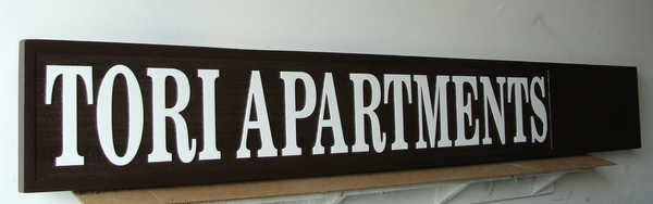 KA20614 - Carved and Sandblasted HDU Tori Apartments Sign