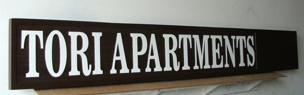 KA20614 - Carved and Sandblasted HDU Tori Apartments Sign