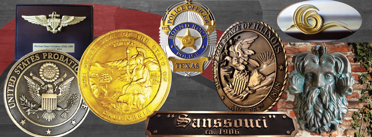 Product Line 7 - Examples of Metal and Metal-Coated (Bronze, Brass, Copper, Stainless Steel, Aluminum, Nickel, Gold, and Silver) Plaques and Signs