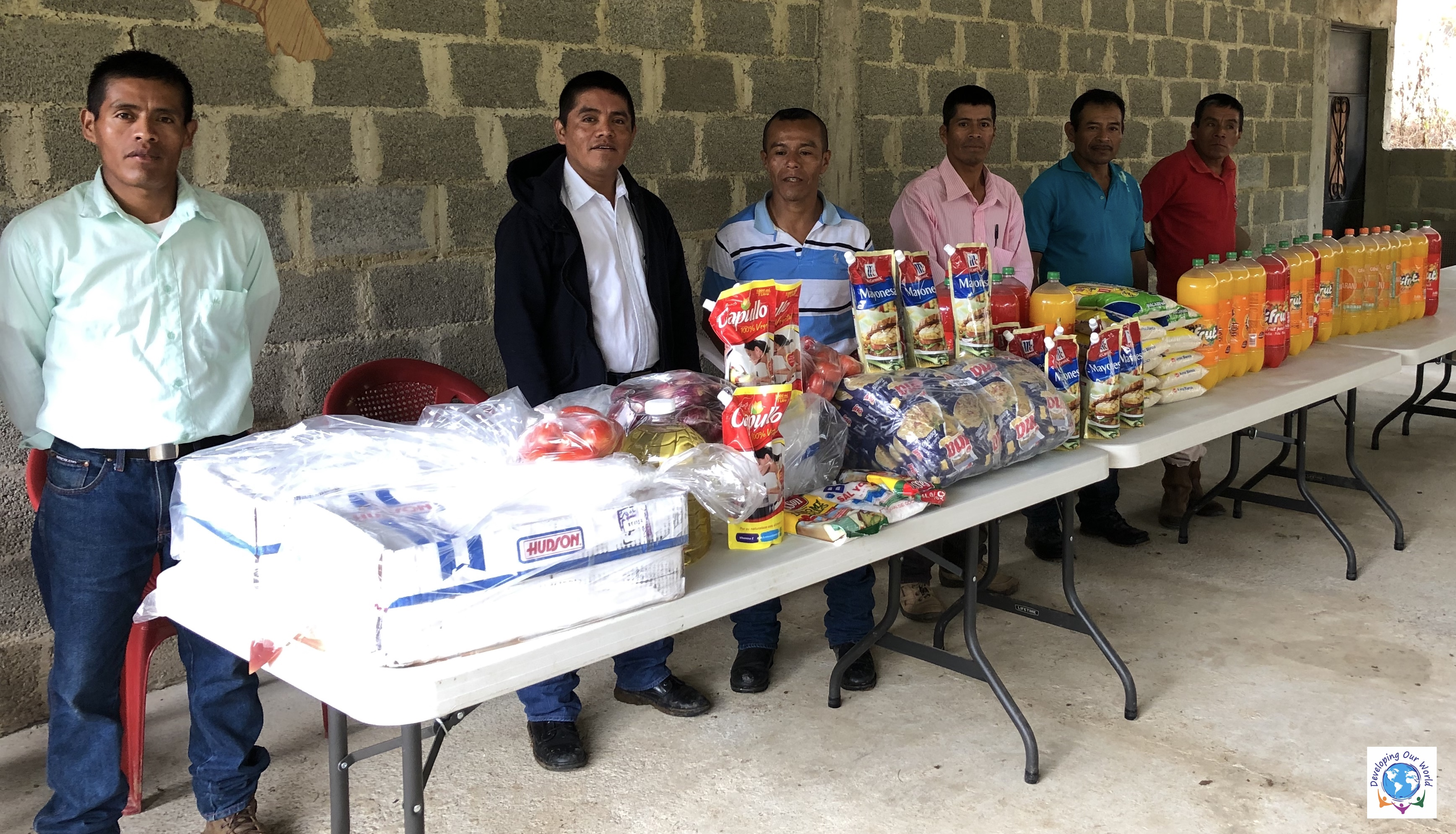 Community leaders with the food donated
