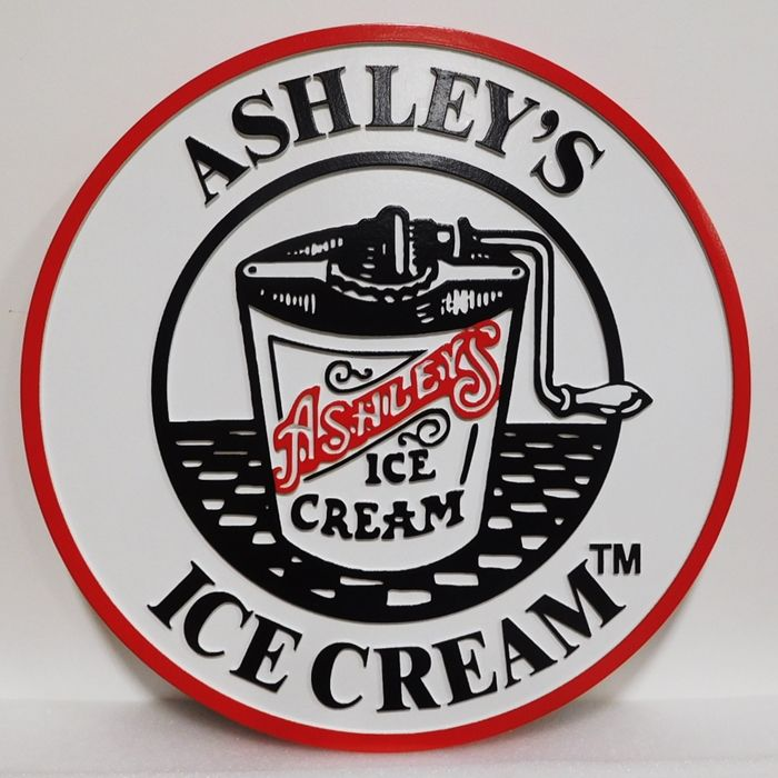 "Q25825- Carved Sign  ""Ashley's Ice Cream""  with 2.5-D  Raised Text  and  Artwork (a Hand-cranked Ice Cream Maker)"